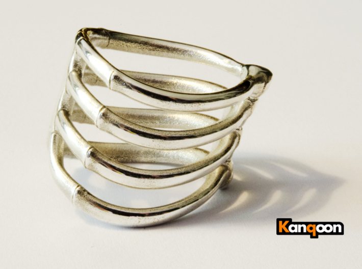 Thorsten 4 Rib - Ring 3d printed Polished Silver ( printed in US 9.75 )