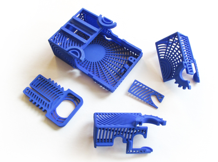 ButterPi Case 3d printed Unassembled components in Royal Blue Strong & Flexible