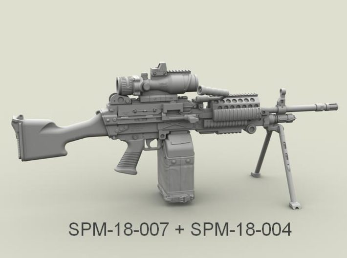 1/18 SPM-18-007 m249 MK48mod0 7,62mm machine gun 3d printed