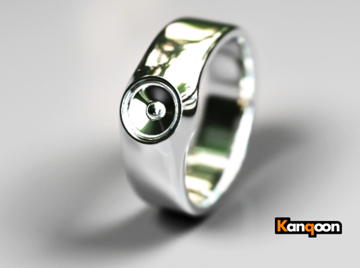 Laura - Ring - US 9 - 19mm inside diameter 3d printed Premium Silver PREVIEW