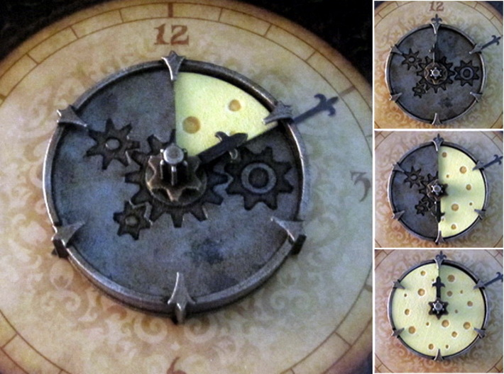 Cheese Wheel Clock (rotating) 3d printed Hand-painted White Strong Flexible (board copyright Plaid Hat Games)