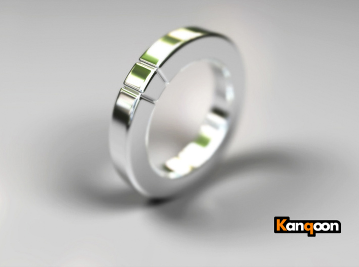 Caleb - Cubeamond Ring 3d printed Polished Silver Preview