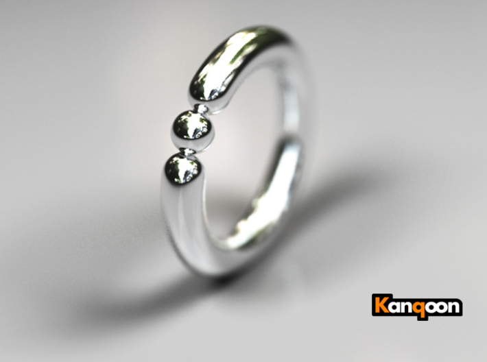Bali Bania - Ballamond Ring 3d printed Polished Silver Preview