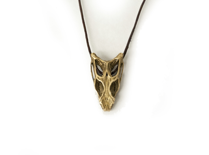 Dragon Skull 3d printed 1mm leather string and raw bronze