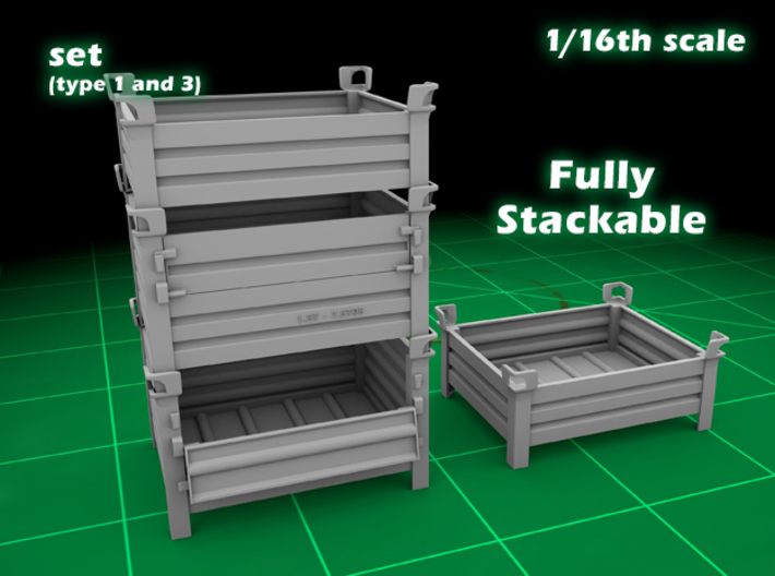 Stackable container (type 1&3 (big set) 1/16) 3d printed