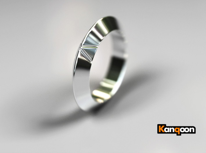 Cleo - Deltamond Ring 3d printed Polished Silver Preview