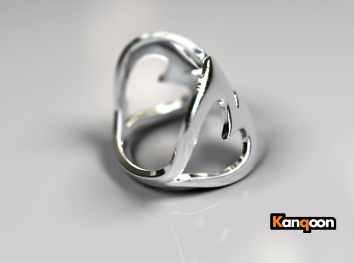 Valentin - Ring 3d printed Polished Silver PREVIEW