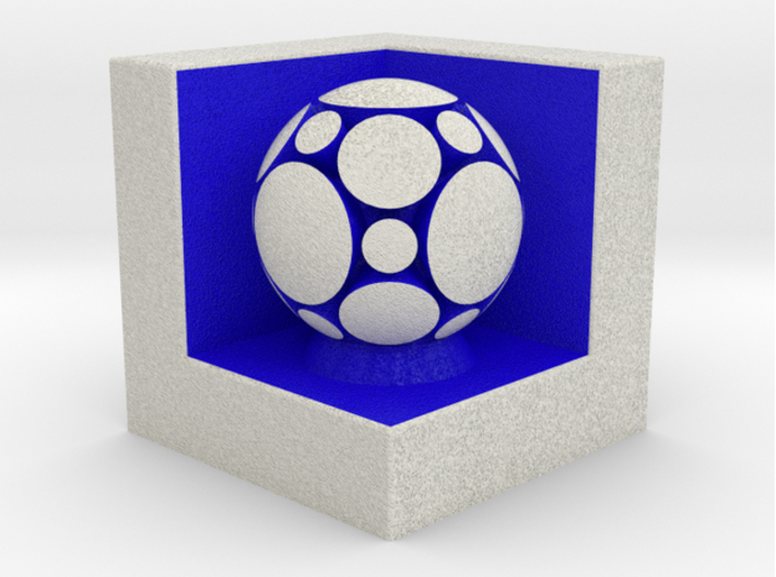 LuminOrb 1.3 - Cube Stand 3d printed Shapeways render of Cube Display Stand with COMPASSION in Full Color Sandstone