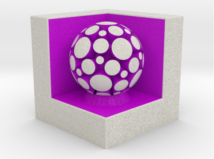 LuminOrb 1.6 - Cube Stand 3d printed Shapeways render of Cube Display Stand with PASSION in Full Color Sandstone