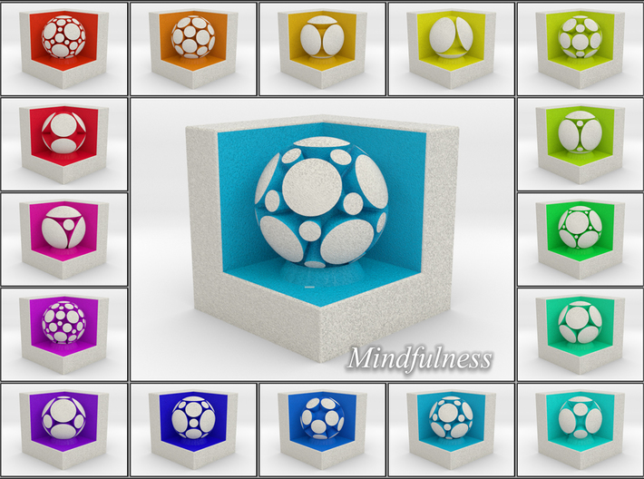 LuminOrb 1.8 - Cube Stand 3d printed Shapeways Render of Cube Display Stands with MINDFULNESS amongst LuminOrb Series I and II