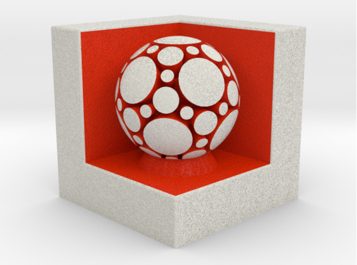 LuminOrb 2.1 - Cube Stand 3d printed Shapeways render of Cube Display Stand with JOY in Full Color Sandstone