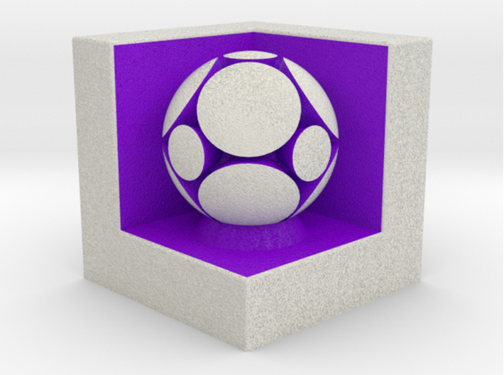 LuminOrb 2.3 -  Cube Stand 3d printed Shapeways render of Cube Display Stand with WISDOM in Full Color Sandstone