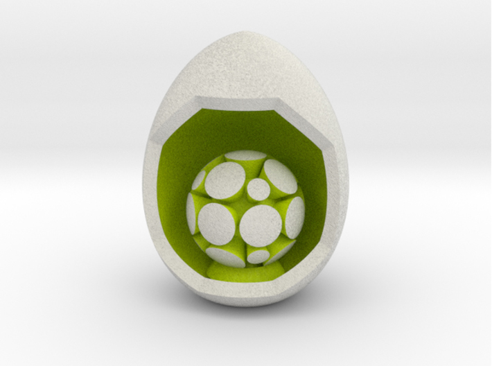 LuminOrb 2.7 - Egg Stand 3d printed Shapeways render of Egg Display Stand for GRATITUDE in Full Color Sandstone
