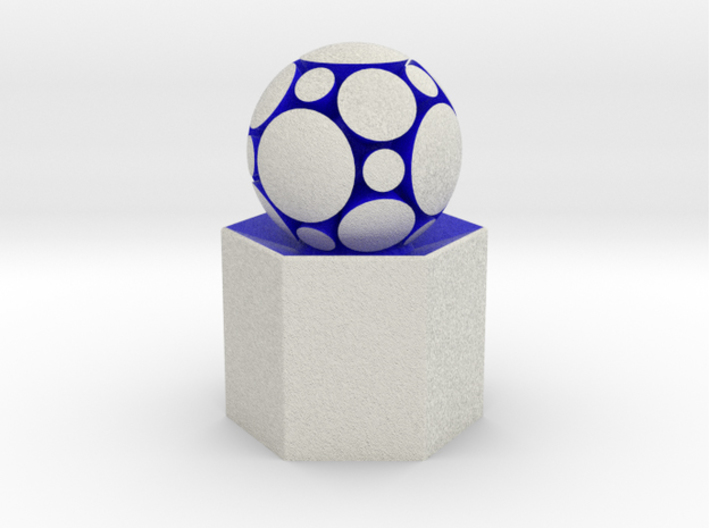 LuminOrb 1.3 - Column Stand 3d printed Shapeways render of Column Display Stand with COMPASSION in Full Color Sandstone