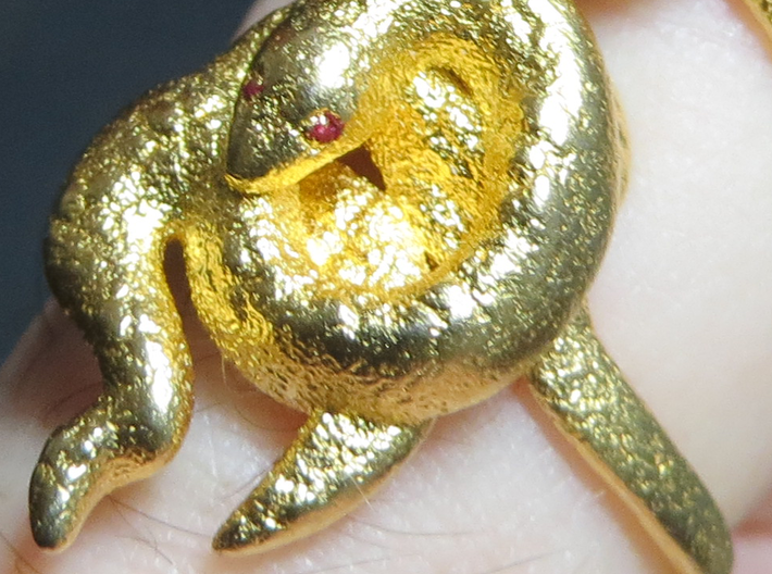 Covetous Gold Serpent Ring, Size 8.5 3d printed Slight dab of red nail polish on the eyes