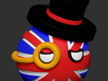 Countryballs UK with hat and monocle 3d printed Countryballs UK with hat and monocle - 3d render