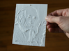 Albert Einstein Shadowgram 3d printed Photo of the print lit from the front, revealing the relief