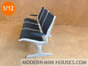 Eames Tandem Sling Airport Chairs 1:12 scale 3d printed Painted matte black and silver
