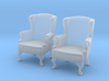 1:43 Queen Anne Wingback Chair (Set of 2) 3d printed