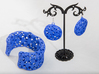 Flowers Cuff (Size M) 3d printed Printed in Blue Strong & Flexible Plastic with earrings