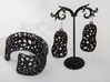 Cells Cuff (Size M) 3d printed Printed in Black Strong & Flexible Plastic with earrings