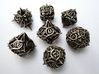 Thorn Dice Set with Decader, 7 Piece Die Set 3d printed In stainless steel.