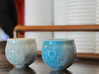 """Moon Shot"" Espresso Cup 3d printed Gloss celadon green (left) and gloss blue (right) visit the local coffee shop."