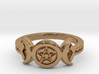 Triple Moon Pentacle Decorated Band Ring Size 8 3d printed