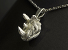 Rhino Pendant - Head  3d printed 3D Print in polished Silver