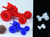"""Baja Racer V3 interlock MICRO (.6 """"-1.5cm long) UV 3d printed Strong Flexible Left / Frosted Extreme Detail Right"""
