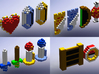 Legend of Zelda Items (Set 1) 3d printed Solidworks render with a better look at all of the items in the set.