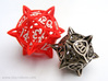 'Center Arc' dice, D20 MTG Spindown Life Counter 3d printed Stainless steel version next to a the larger version in red plastic