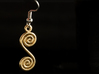 Spirals earring or pendant 3d printed Spirals as an earring (Gold plated brass)