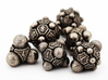 Nucleus D4 3d printed The complete Nucleii Dice Set in Stainless Steel
