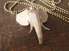 Elephant Head 3d printed Stainless Steel Elephant pendant front