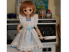 BJD Frying Pan 3d printed Rena, a 45 cm mini dollfie dream holding the frying pan and spatula.