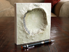 6'' Meteor Crater, Arizona, USA, Sandstone 3d printed Photograph of Meteor Crater, North is up; dark spot at top is the parking lot