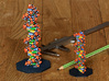 DNA Molecule Standing Standard 3d printed Available in multiple size options. Here are on the left 'Large' and on the right 'Standard'.