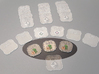A.S.I.E. Safe tokens (4 pcs) 3d printed Hand-painted white strong flexible polished. Pic courtesy of BGG user bamonson