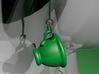 Coffee Cups Earrings 3d printed Green Strong & Flexible Polished