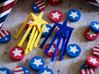 Stars And Stripes Earrings (for Studs) 3d printed