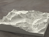 6''/15cm Oberland Peaks, Switzerland, Sandstone 3d printed Radiance rendering of model, looking south toward the Eiger Nordwand.