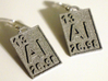 Aluminum Periodic Table Earrings 3d printed Photos of the earrings printed in Grey Plastic.