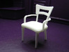 1:24 Dog Bone Chair with Arms 3d printed Printed in White, Strong & Flexible