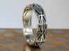 Cut Facets Ring Sz. 5.5 3d printed polished silver with liver of sulfur patina
