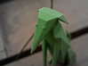 Folded Sculpture Dogs, Italian Greyhound 3d printed Strong flexible plastic in green, closeup of face