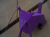 Folded Sculpture Dogs, Shetland Sheepdogs 3d printed Strong flexible plastic in purple, closeup of face