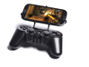 PS3 controller & Plum Might Plus II 3d printed Front View - A Samsung Galaxy S3 and a black PS3 controller
