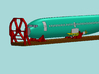 HO 1/87 Boeing 737-400 Fuselage 3d printed A CAD image of the fuselage on a flatcar with the Icebreaker and Cradles.