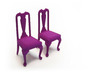 Pair of 1:48 Queen Anne Chairs 3d printed Dyed Purple, Strong & Flexible Plastic
